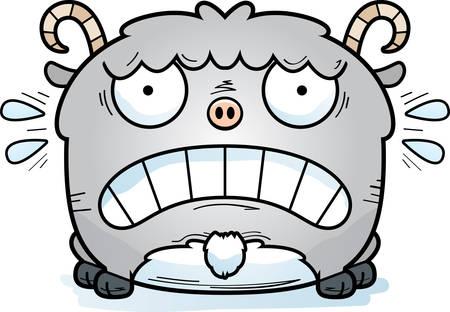 Una caricatura de la ilustración de una cabra que parece aterrorizada.