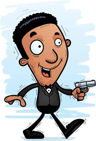 A cartoon illustration of a black spy walking.