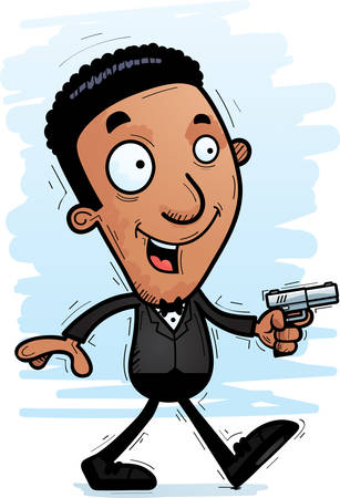 A cartoon illustration of a black spy walking.