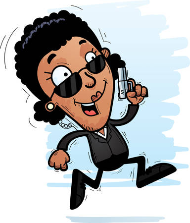 A cartoon illustration of a black woman secret service agent running. Ilustrace
