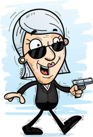 A cartoon illustration of a senior citizen woman secret service agent walking.