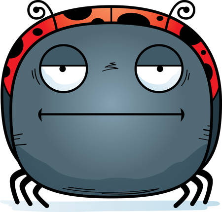 A cartoon illustration of a ladybug looking bored.