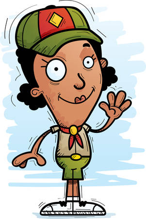 A cartoon illustration of a black woman scout waving. Ilustracja