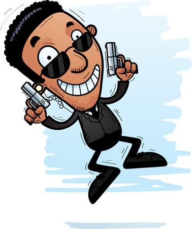 A cartoon illustration of a black man secret service agent jumping.