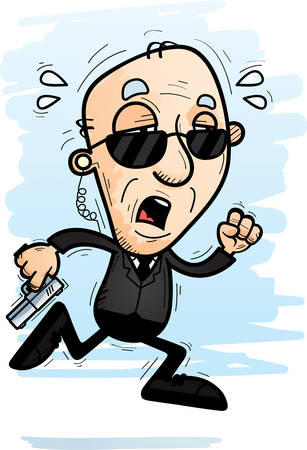 A cartoon illustration of a senior citizen man secret service agent running and looking exhausted.
