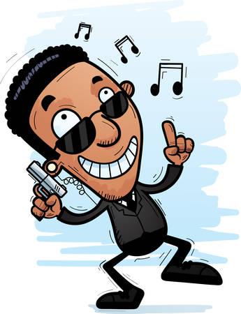 A cartoon illustration of a black man secret service agent dancing.