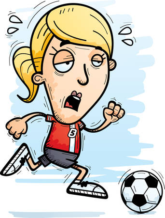 A cartoon illustration of a woman soccer player running and looking exhausted.