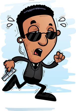A cartoon illustration of a black man secret service agent running and looking exhausted. Illustration