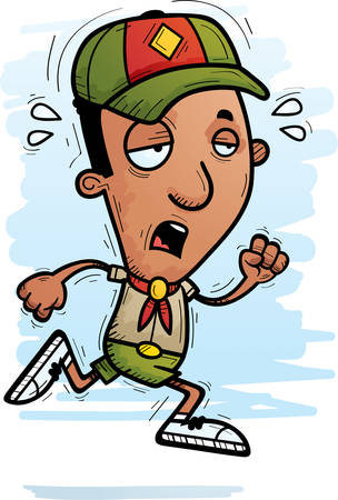 A cartoon illustration of a black man scout running and looking exhausted. 向量圖像