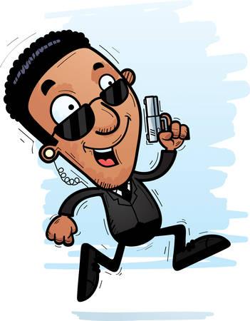 A cartoon illustration of a black man secret service agent running.