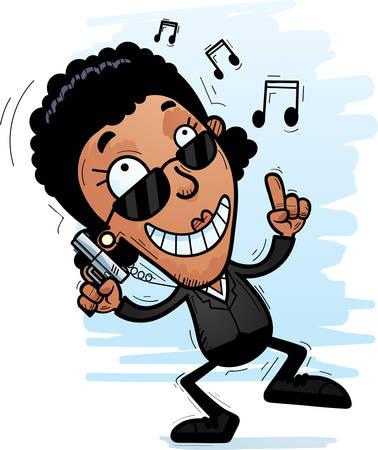A cartoon illustration of a black woman secret service agent dancing. Ilustrace