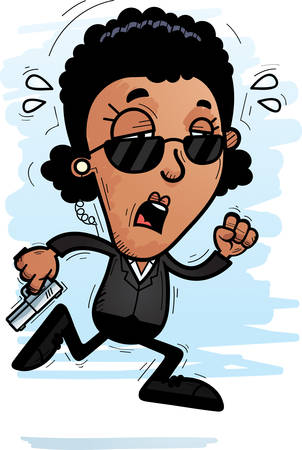 A cartoon illustration of a black woman secret service agent running and looking exhausted. 向量圖像