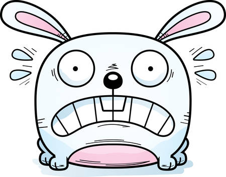 A cartoon illustration of a rabbit looking terrified.