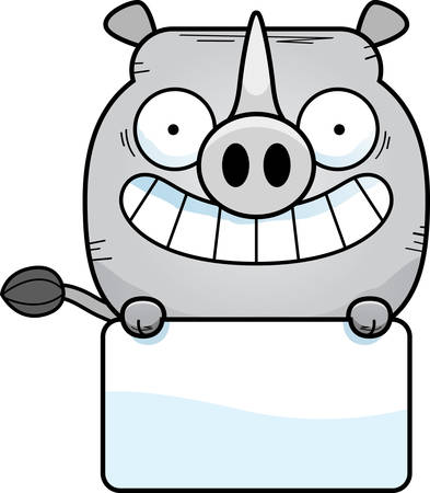 A cartoon illustration of a little rhinoceros with a white sign.