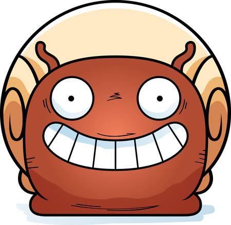 A cartoon illustration of a snail looking happy. Çizim