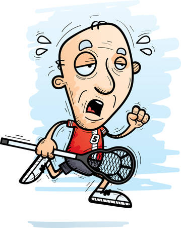 A cartoon illustration of a senior citizen man lacrosse player running and looking exhausted. 向量圖像
