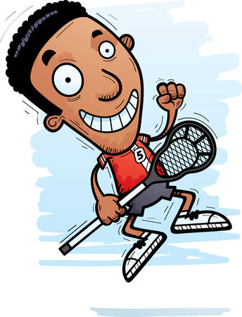 A cartoon illustration of a black man lacrosse player jumping.