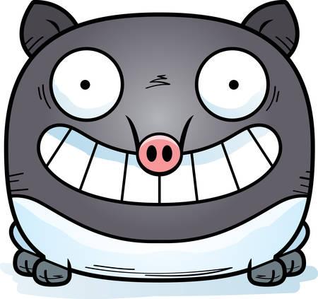 A cartoon illustration of a tapir looking happy.
