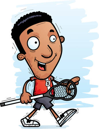 A cartoon illustration of a black man lacrosse player walking.