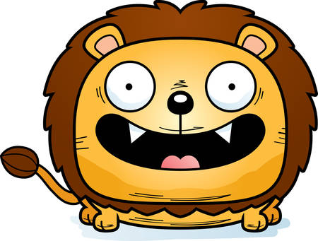 A cartoon illustration of a lion cub with a happy expression. Illustration