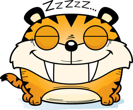 A cartoon illustration of a saber-toothed tiger cub taking a nap. Ilustrace