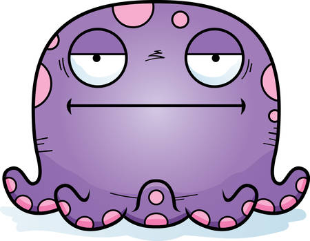 A cartoon illustration of a octopus looking bored.