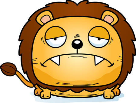 A cartoon illustration of a lion cub with a sad expression.