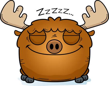 A cartoon illustration of a moose taking a nap.