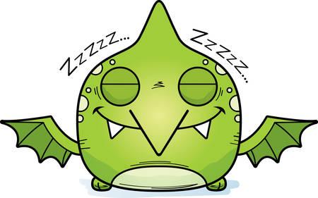 A cartoon illustration of a little pterodactyl taking a nap. Illustration