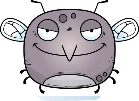 A cartoon illustration of an evil looking mosquito. Vectores