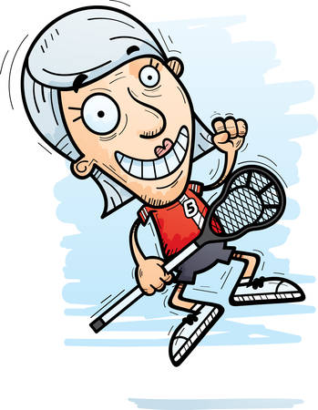 A cartoon illustration of a senior citizen woman lacrosse player jumping. Illustration