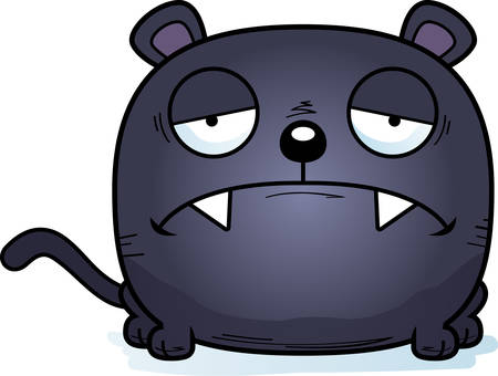 A cartoon illustration of a panther cub with a sad expression.