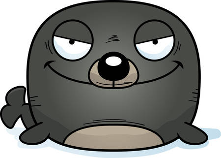 A cartoon illustration of an evil looking seal.