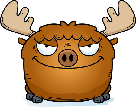 A cartoon illustration of a moose with a sly expression. 矢量图像