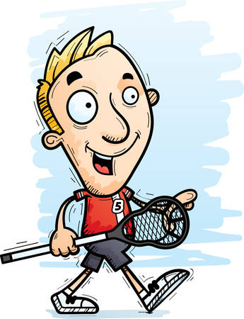 A cartoon illustration of a man lacrosse player walking. Illustration