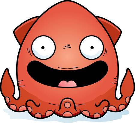 A cartoon illustration of a squid smiling.