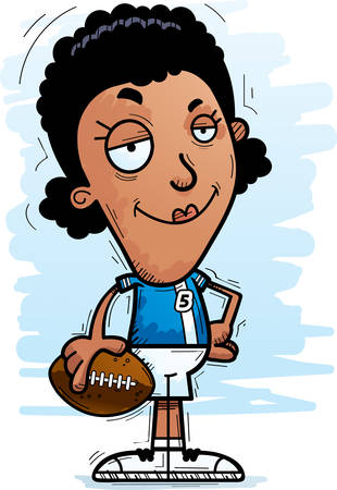 A cartoon illustration of a black woman football player looking confident.