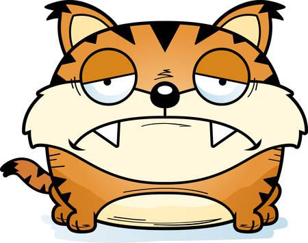 A cartoon illustration of a lynx cub with a sad expression.