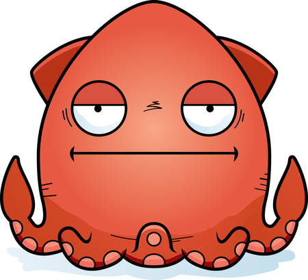 A cartoon illustration of a squid looking bored.  イラスト・ベクター素材