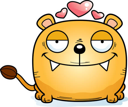 A cartoon illustration of a lioness cub in love.