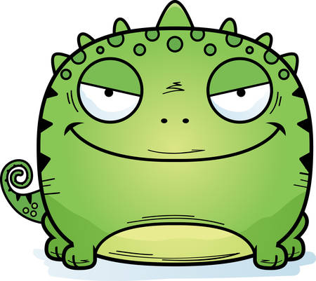 A cartoon illustration of a sinister looking lizard. 일러스트