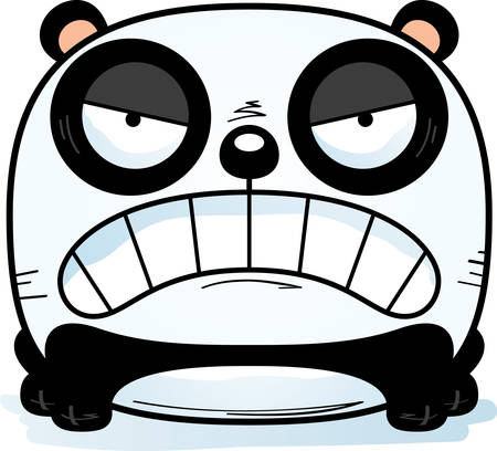 A cartoon illustration of a panda cub with an angry expression. Illustration
