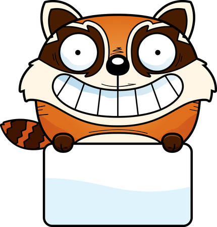 A cartoon illustration of a red panda with a white sign.