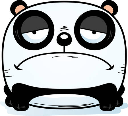 A cartoon illustration of a panda cub with a sad expression.