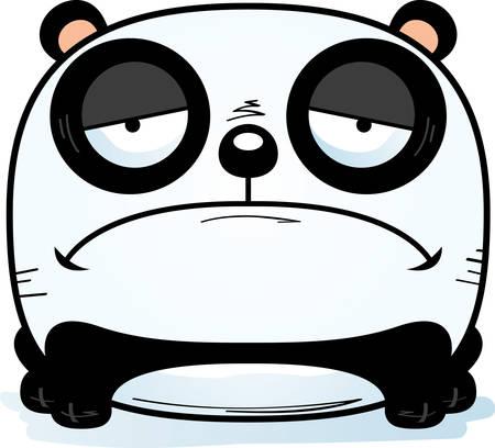 A cartoon illustration of a panda cub with a sad expression.