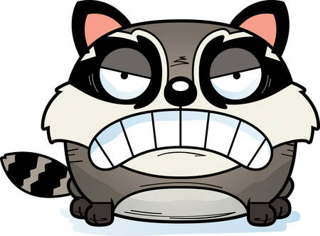 A cartoon illustration of a baby raccoon with an angry expression. Иллюстрация