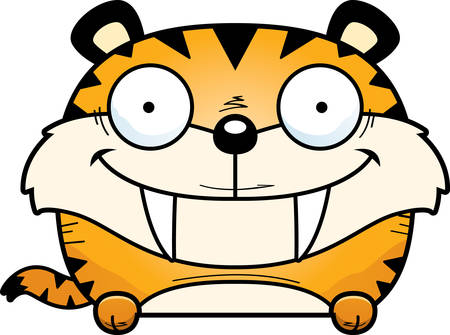 A cartoon illustration of a saber-toothed tiger cub peeking over an object. Illustration