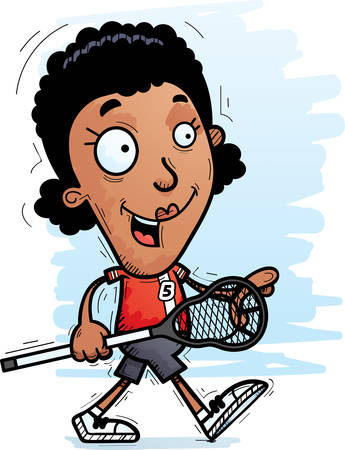 A cartoon illustration of a black woman lacrosse player walking. Ilustração