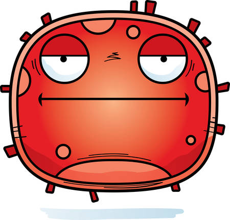 A cartoon illustration of a red blood cell looking bored.