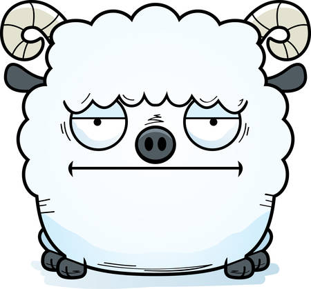 A cartoon illustration of a ram looking bored.